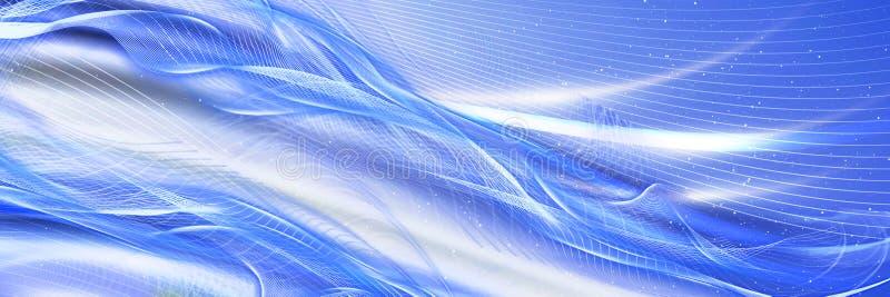 Kleurrijke blauwe abstracte achtergrond met golvende lijnen Panoramische achtergrond royalty-vrije illustratie