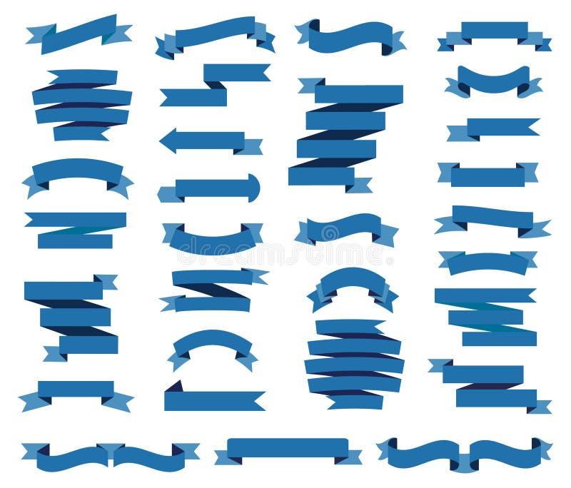 Kleurrijke blauwe linten geplaatst illustratie Kleurrijke etiketten, prijskaartjes, banners voor referentie, uitstekend lint royalty-vrije illustratie