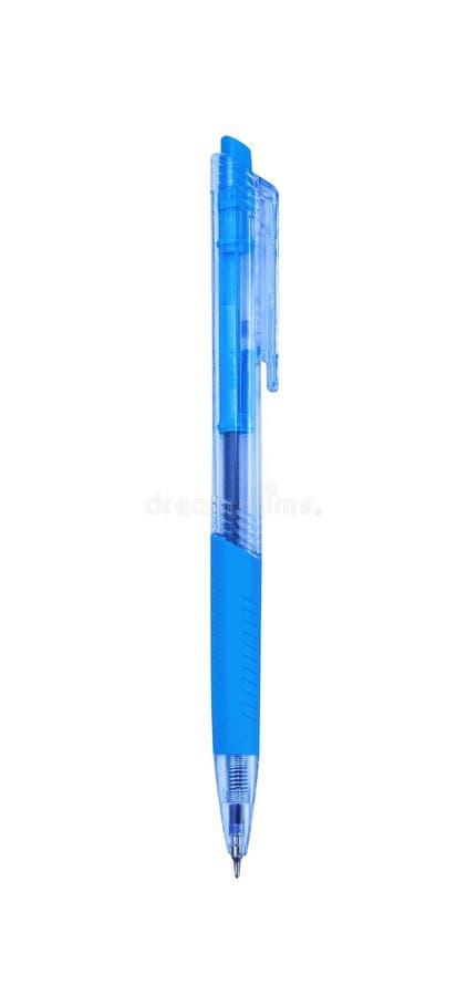 Kleurrijke blauwe transparante plastic die ballpoint op witte achtergrond met het knippen van weg wordt geïsoleerd stock foto's