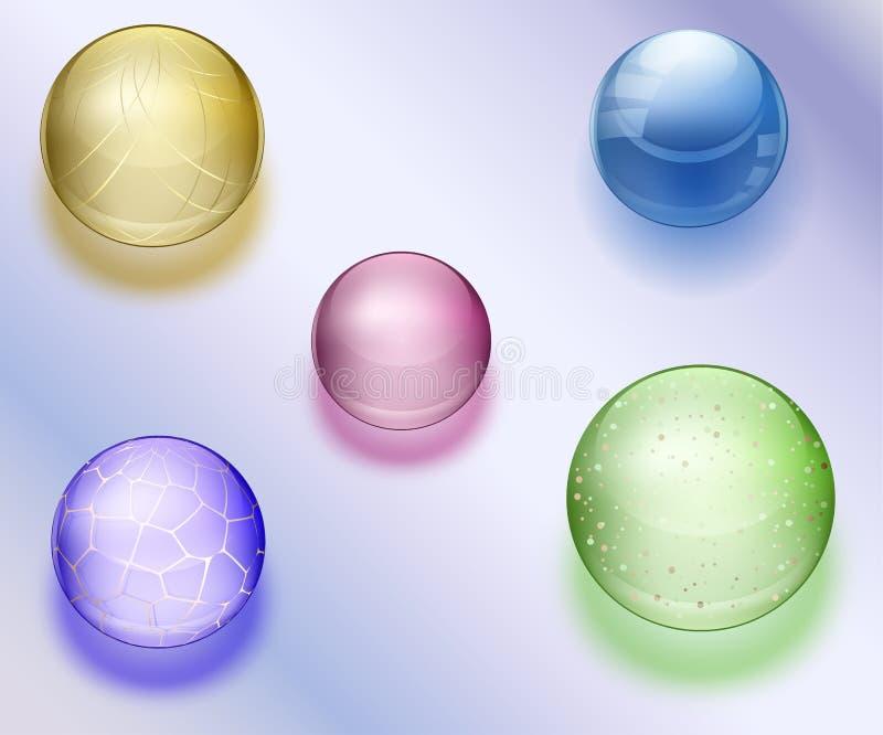 Kleurrijke Blauwe waterdalingen en parels met transparante glanzende parels met ornamentillustratie vector illustratie