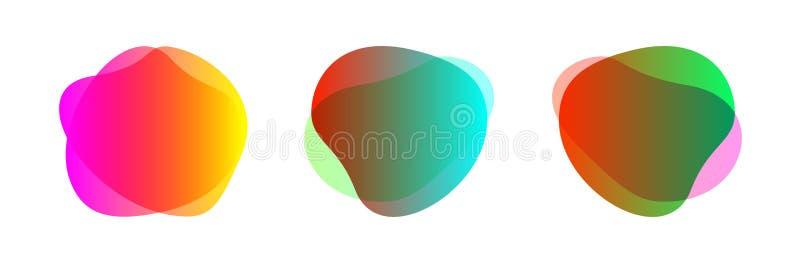 Kleurrijke blob-vorm, vrij van set voor achtergrond, vlakke geometrische eenvoudige, vloeibaar vlekige penseel vlakke vlek voor e stock illustratie