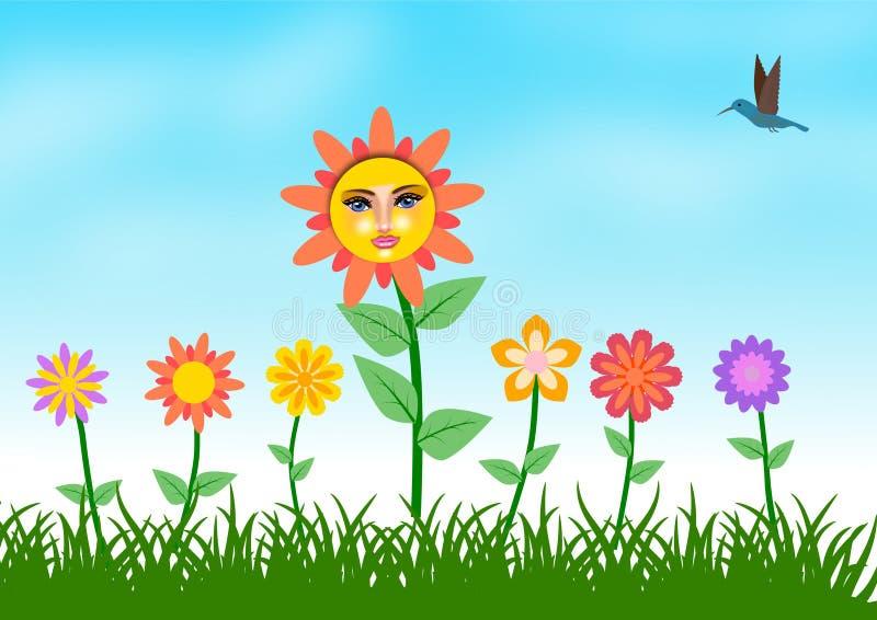 Kleurrijke Bloem en Vogel bij de Achtergrond van de Tuinillustratie stock illustratie