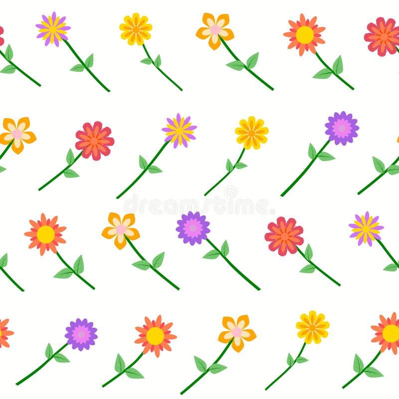 Kleurrijke Bloem Naadloos op Witte Vector stock illustratie