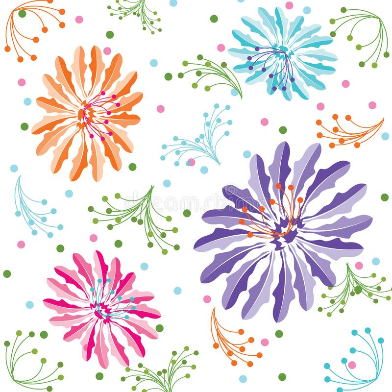 Kleurrijke Bloemachtergrond, Naadloos Bloemenpatroon in Vector royalty-vrije illustratie