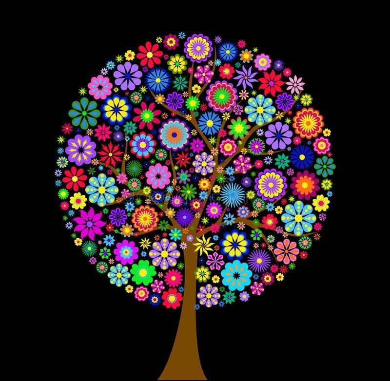Kleurrijke bloemboom op zwarte achtergrond royalty-vrije illustratie