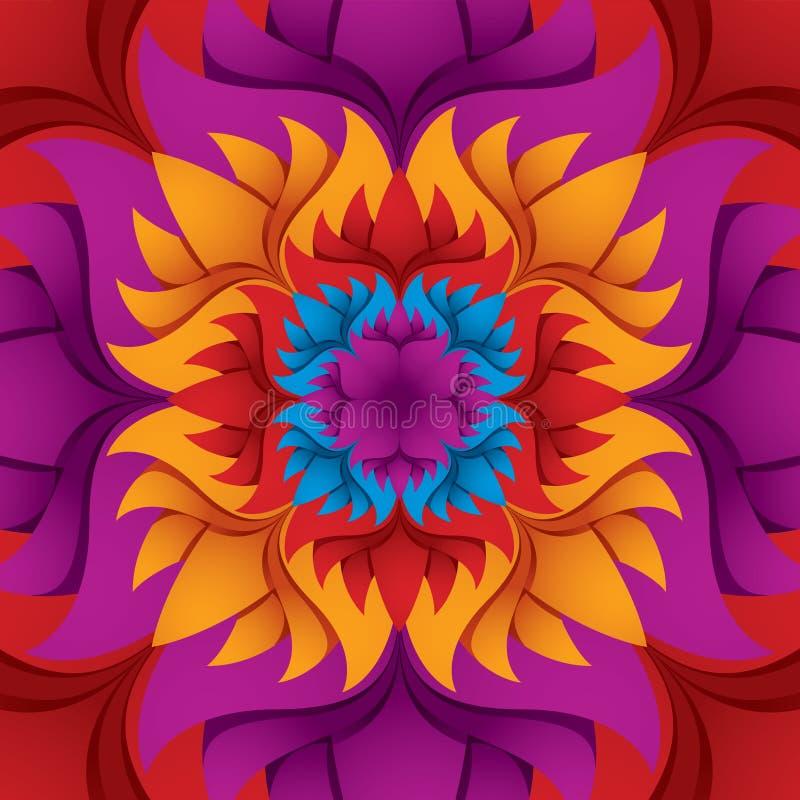 Kleurrijke bloemcaleidoscoop. vector illustratie