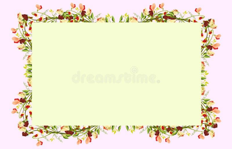 Kleurrijke bloemen aan de vier kanten van de omheining met gele achtergrond royalty-vrije illustratie