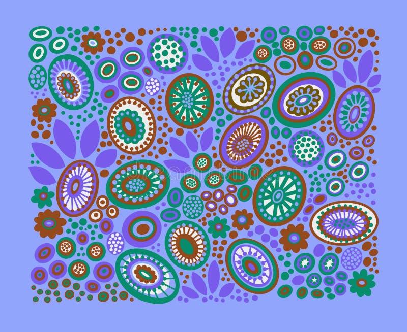Kleurrijke bloemen en bladeren op lichtblauwe achtergrond stock illustratie