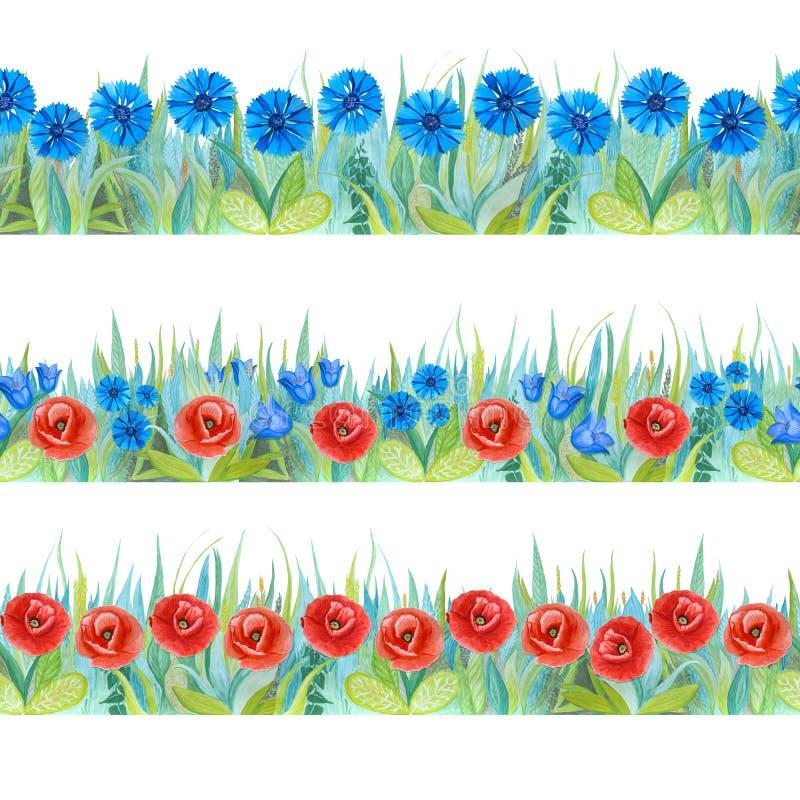 Kleurrijke bloemen naadloze grenzen Heldere achtergrond - gras met rode en blauwe bloemen stock illustratie