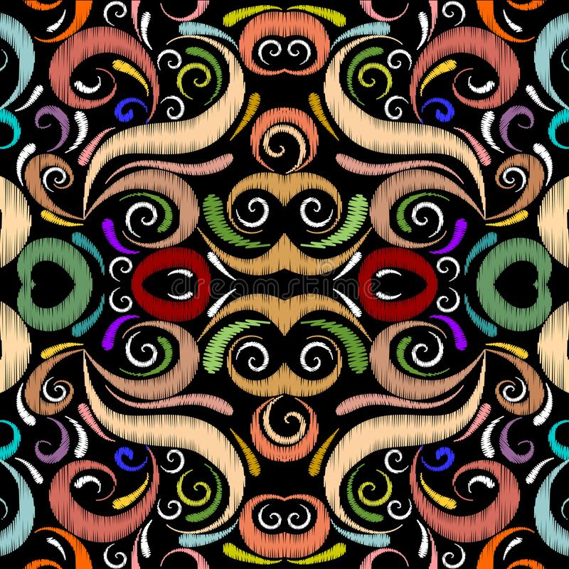 Kleurrijke bloemen naadloze patroon van de borduurwerk het etnische stijl Vector stock illustratie