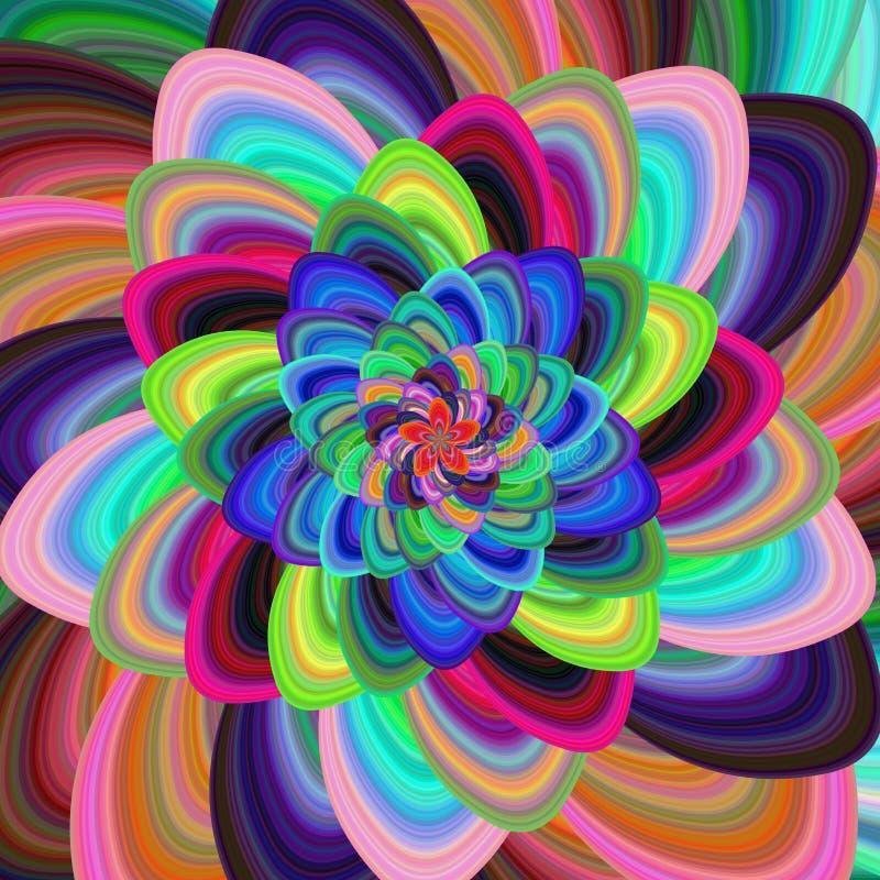 Kleurrijke bloemen spiraalvormige fractal ontwerpachtergrond stock illustratie