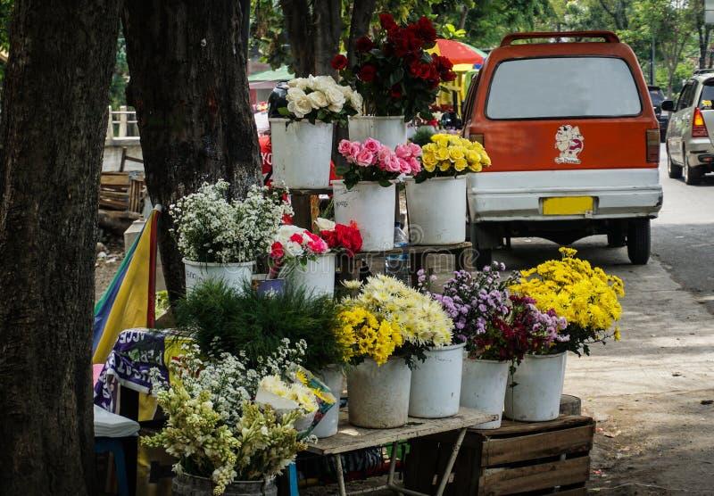 Kleurrijke bloemen in witte die pottenfoto in Semarang Indonesië wordt genomen stock foto's