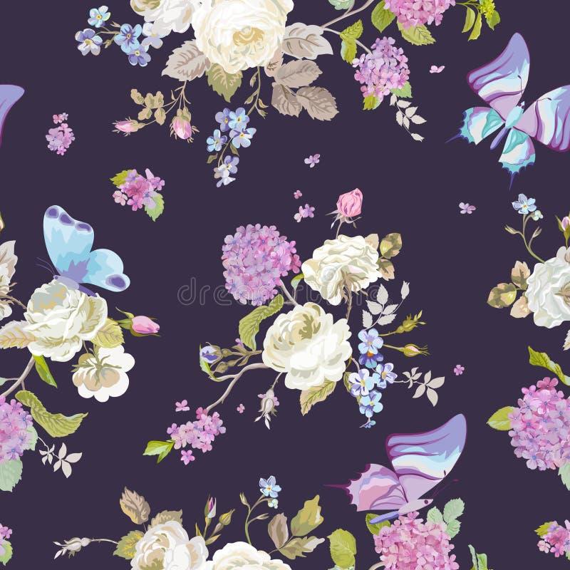 Kleurrijke Bloemenachtergrond met Vlinders Naadloos BloemenPatroon royalty-vrije illustratie