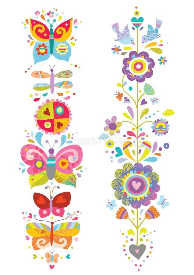 Kleurrijke Bloemenelementen met Vogels en Vlinders royalty-vrije illustratie