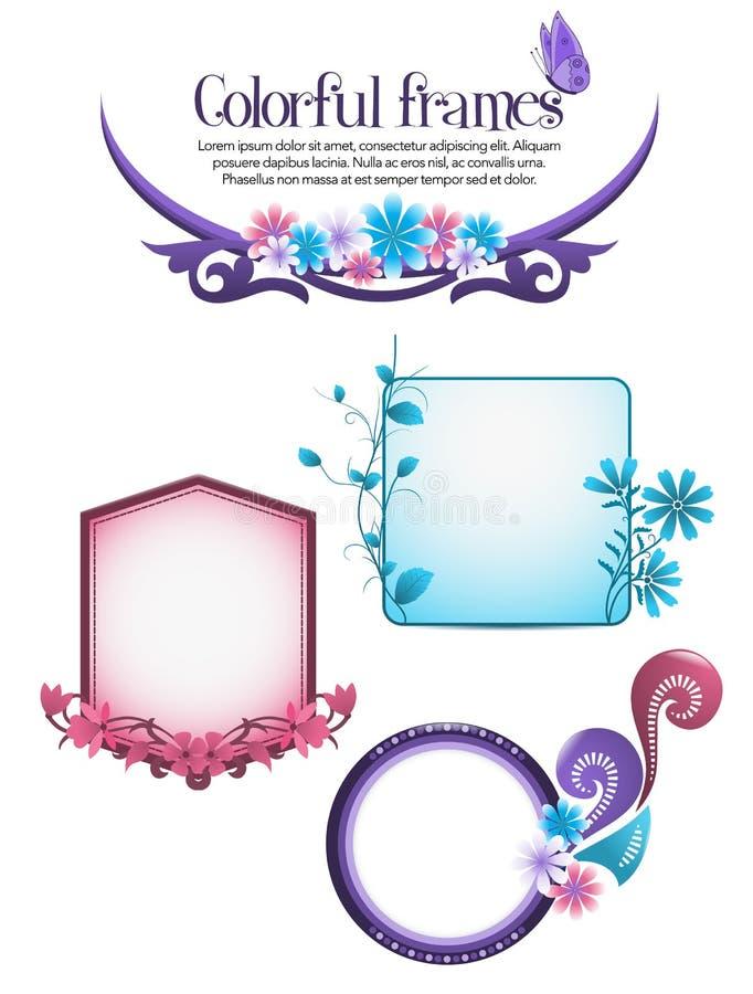 Kleurrijke bloemenframes royalty-vrije illustratie
