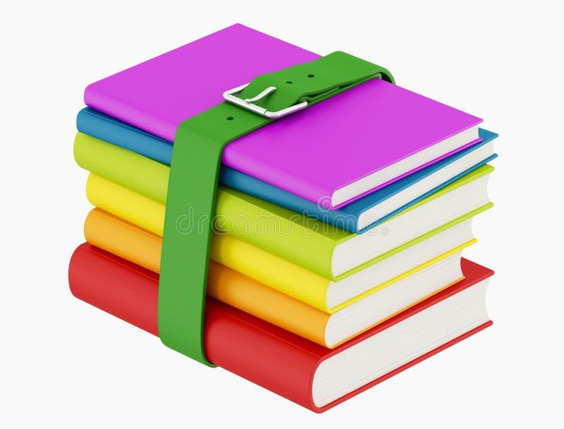 Kleurrijke boeken met groene riem stock illustratie