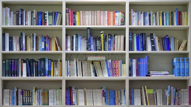 Kleurrijke boeken op bibliotheekplanken stock afbeelding