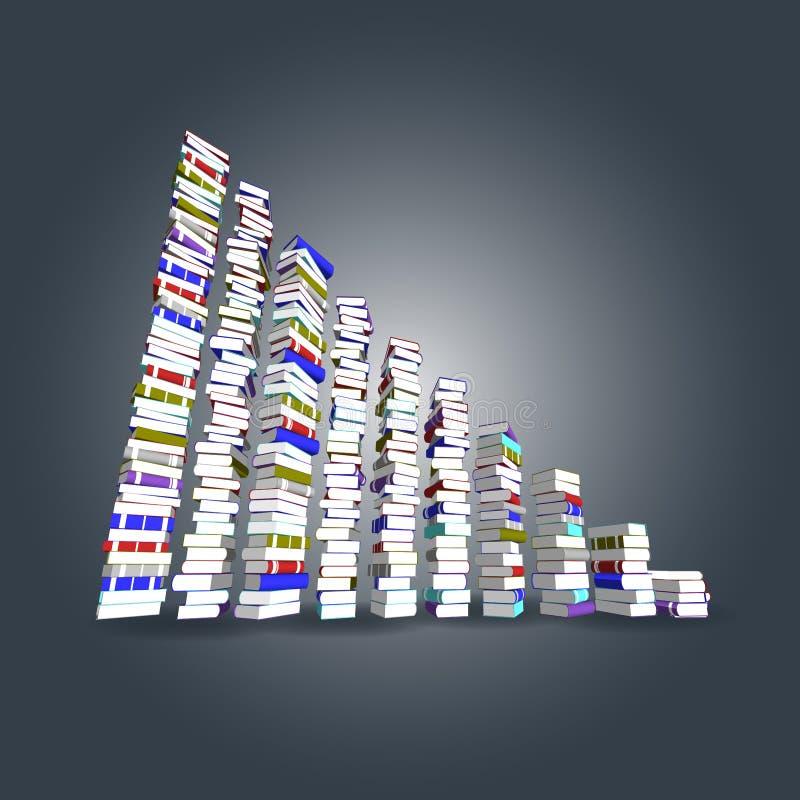 Kleurrijke boekentoren en trede vector illustratie