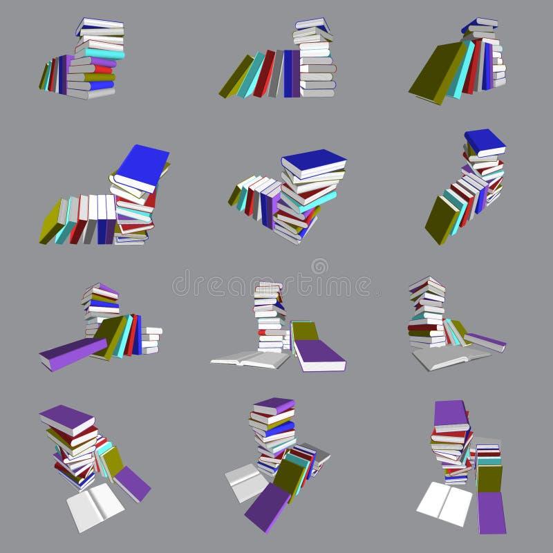 Kleurrijke boekentoren en trede stock illustratie