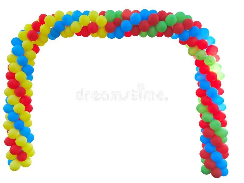 Kleurrijke boog van rode blauwe geelgroene die ballons over wh worden geïsoleerd stock fotografie