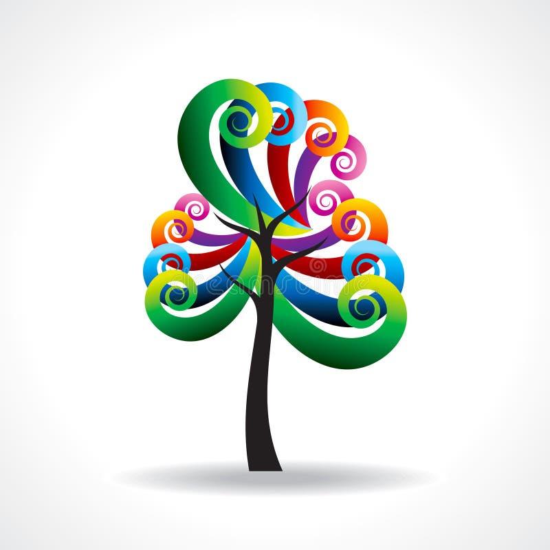 Kleurrijke boom in decoratief ontwerp stock illustratie