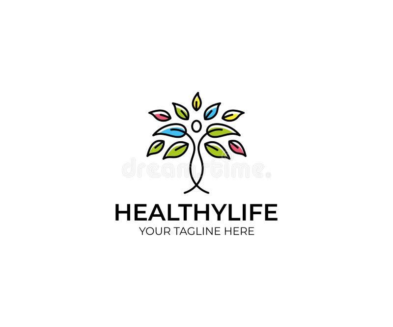 Kleurrijke Boom en Mensen Logo Template Van het lijnboom en Blad Vectorontwerp royalty-vrije illustratie