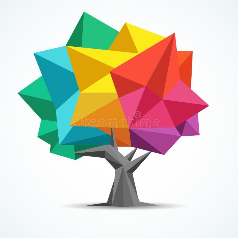 Kleurrijke Boom Geometrisch veelhoekontwerp stock illustratie