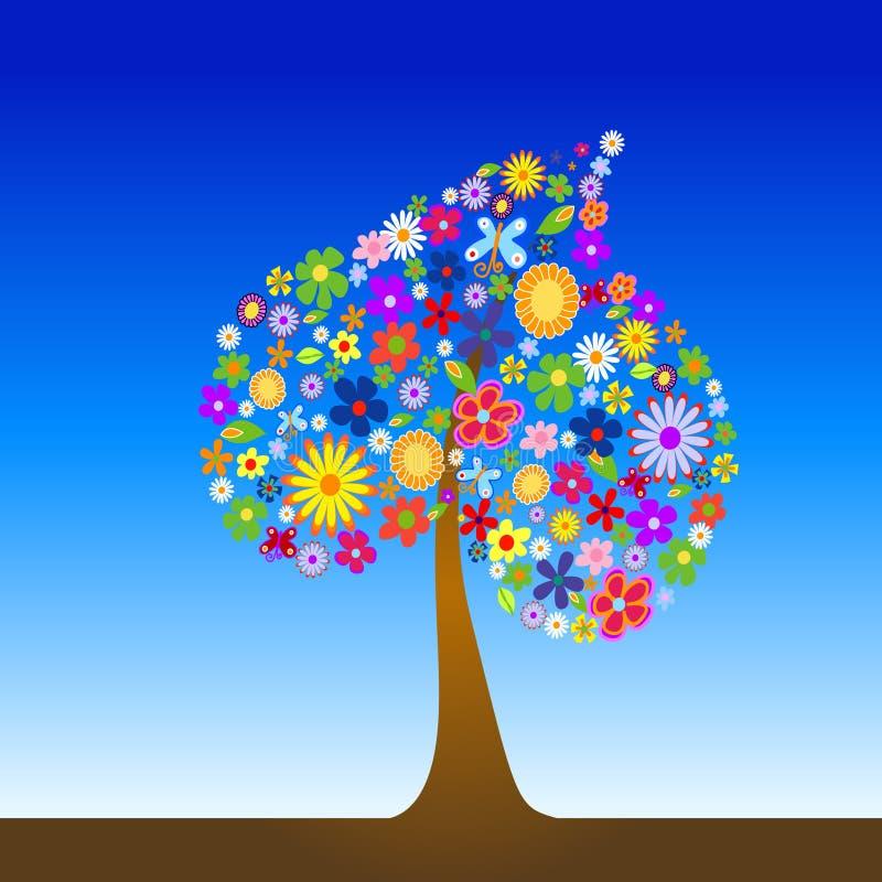Kleurrijke boom met bloemen stock illustratie