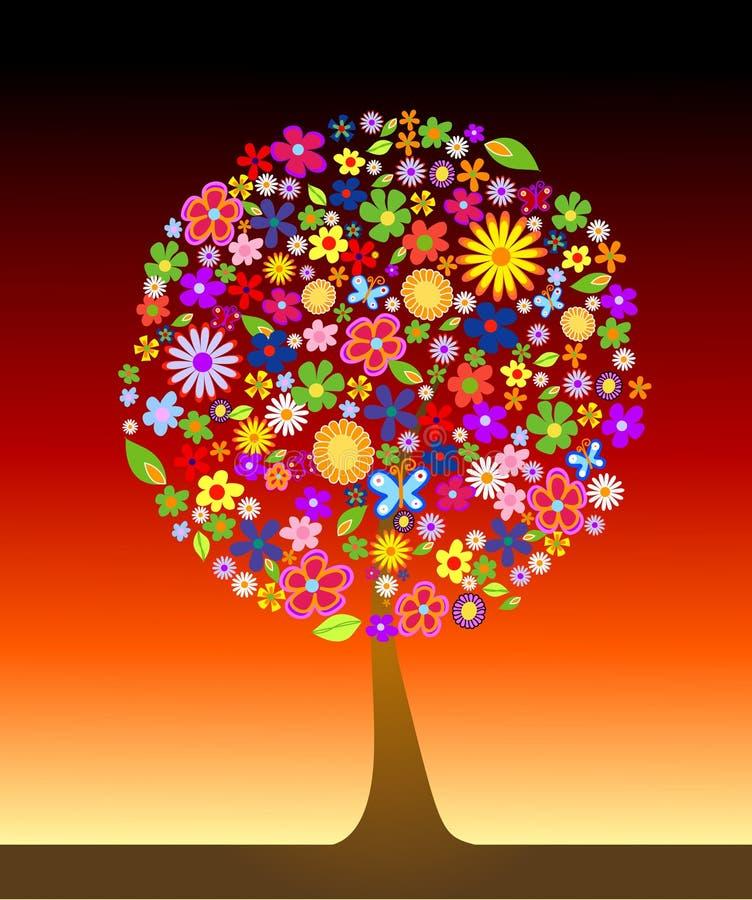 Kleurrijke boom met bloemen royalty-vrije illustratie