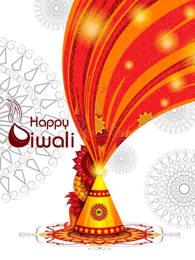 Kleurrijke brandcracker met verfraaide diya voor de Gelukkige Diwali-viering van de festivalvakantie van de groetachtergrond van  vector illustratie