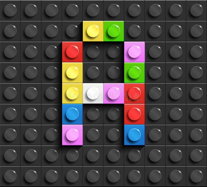Kleurrijke brief G van de bouw van legobakstenen op zwarte legoachtergrond Legobrief M stock illustratie