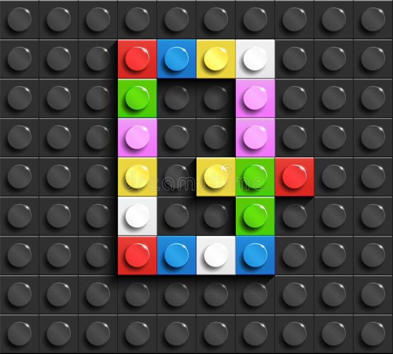 Kleurrijke brieven G van alfabet van de bouw van legobakstenen op de zwarte achtergrond van de legobaksteen legoachtergrond 3D br stock illustratie