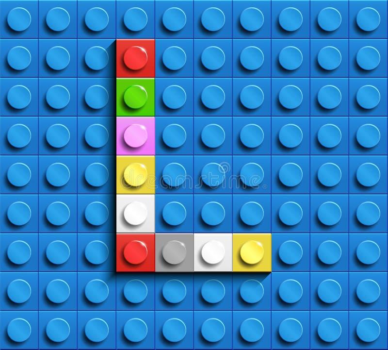 Kleurrijke brieven l van alfabet van de bouw van legobakstenen op de blauwe achtergrond van de legobaksteen blauwe legoachtergron royalty-vrije illustratie