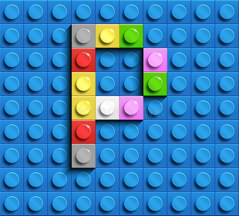 Kleurrijke brieven P van alfabet van de bouw van legobakstenen op de blauwe achtergrond van de legobaksteen blauwe legoachtergron stock illustratie