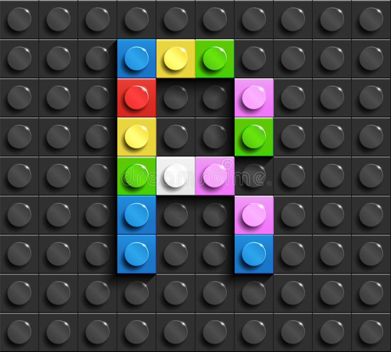 Kleurrijke brieven R van alfabet van de bouw van legobakstenen op de zwarte achtergrond van de legobaksteen legoachtergrond 3D br stock illustratie
