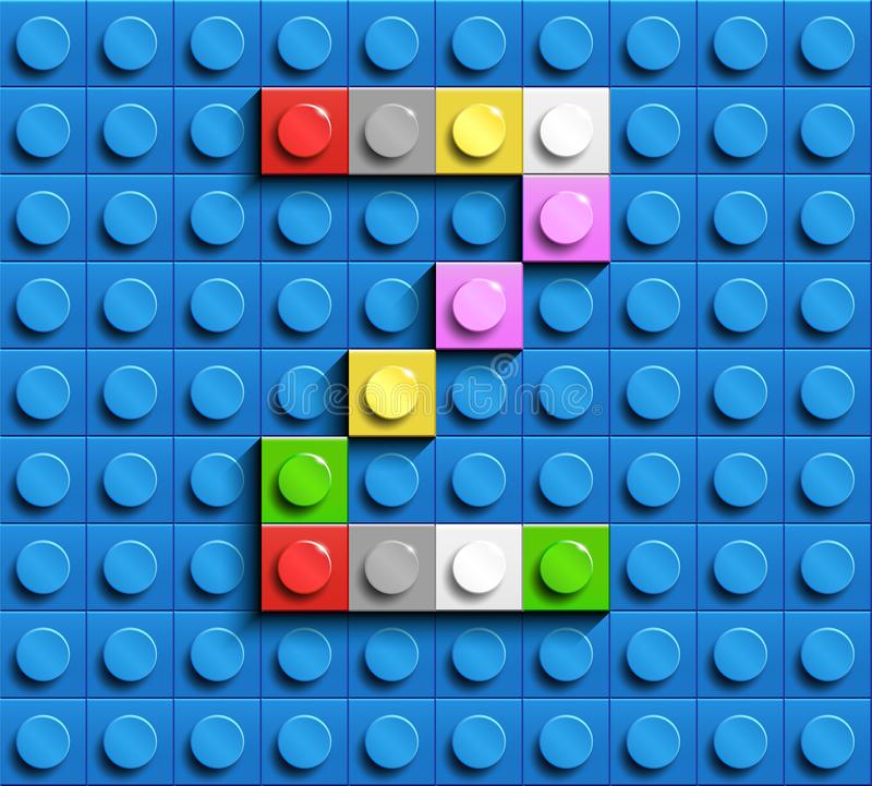 Kleurrijke brieven Z van alfabet van de bouw van legobakstenen op de blauwe achtergrond van de legobaksteen blauwe legoachtergron royalty-vrije illustratie