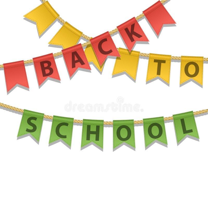 Kleurrijke Bunting decoratie met terug naar Schooltekst op een witte achtergrond Het concept van het onderwijs Het malplaatje van vector illustratie