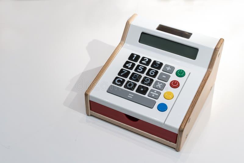 Kleurrijke calculator met zij houten en rode lade royalty-vrije stock foto