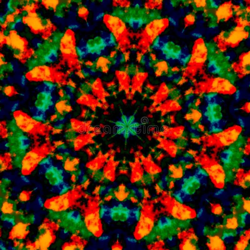 Kleurrijke caleidoscopische kunstillustratie Het ontwerp van de beeldsamenstelling Creatief afficheidee Fantasie gevlekte achterg vector illustratie