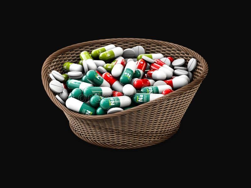 Kleurrijke capsules met vitaminen en mineralen in de mand, 3d Illustratie geïsoleerde zwarte stock illustratie