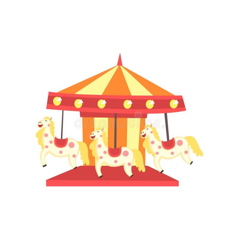 Kleurrijke Carnaval-carrousel met paarden Funfair of pretparkpictogram Vermaakelement voor familierecreatie vector illustratie