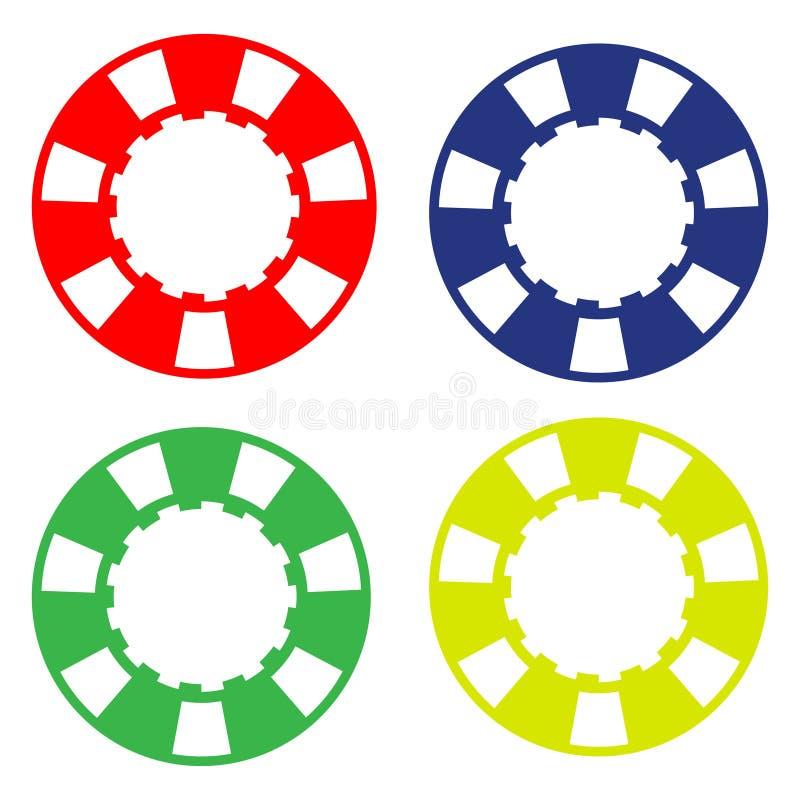 Kleurrijke casinopook chipset stock illustratie