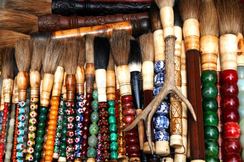 Kleurrijke Chinese kunstborstels stock foto's