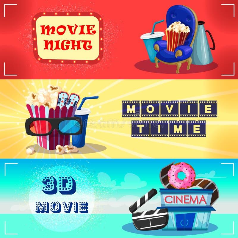 Kleurrijke Cinematografie Horizontale Banners stock illustratie