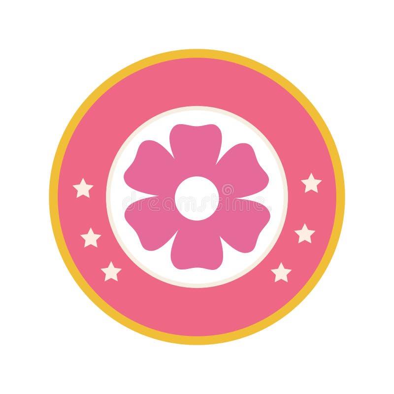 Kleurrijke cirkelgrens met roze de bloempictogram van het silhouetcijfer bloemen royalty-vrije illustratie
