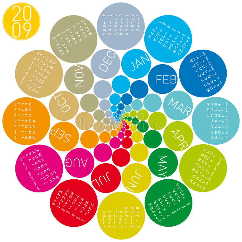 Kleurrijke cirkelskalender 2009 stock illustratie