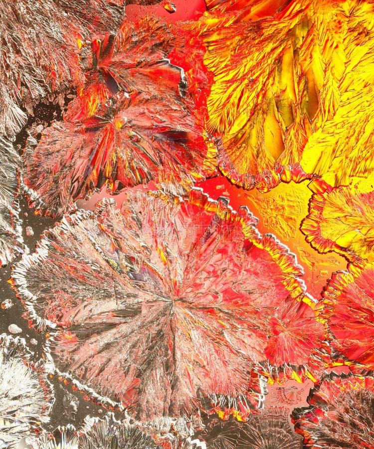 Kleurrijke citroenzuurkristallen stock afbeelding