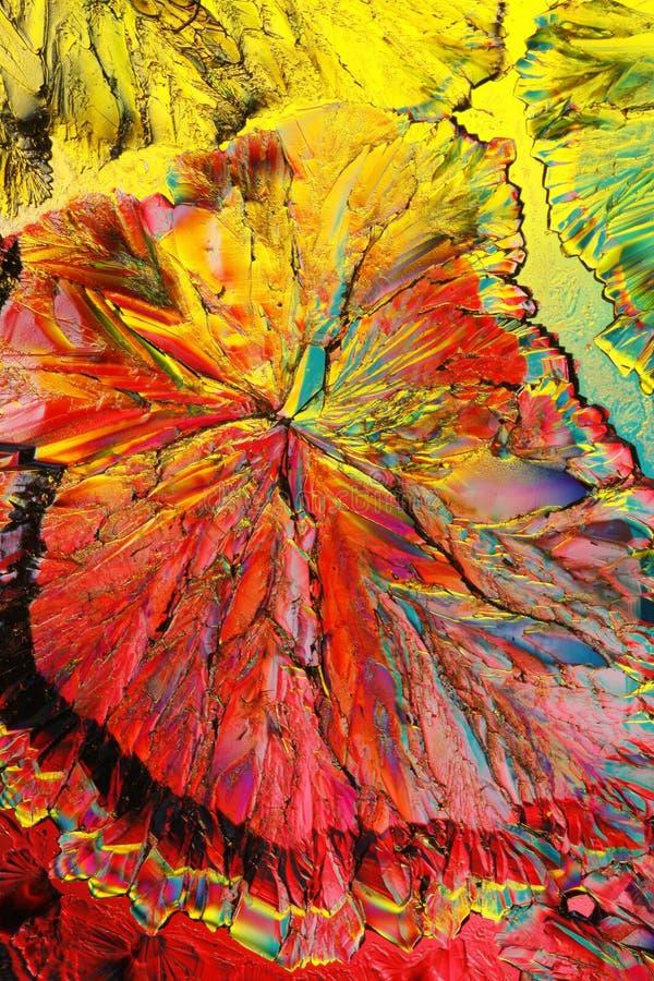 Kleurrijke citroenzuurkristallen royalty-vrije stock afbeeldingen