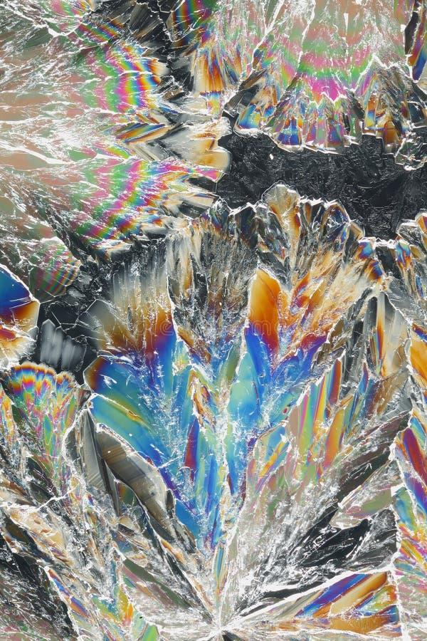 Kleurrijke citroenzuurkristallen royalty-vrije stock afbeelding