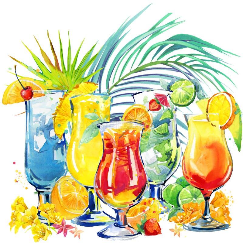 Kleurrijke Cocktail Hand getrokken waterverfillustratie van cocktailfruit en tropische bladerenachtergrond vector illustratie